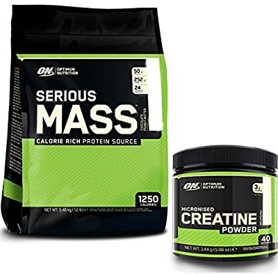 Optimum Nutrition Serious Mass Weight Gain Powder, Banana, 5.45 kg with a 144g Tub of Creatine by Optimum Nutrition