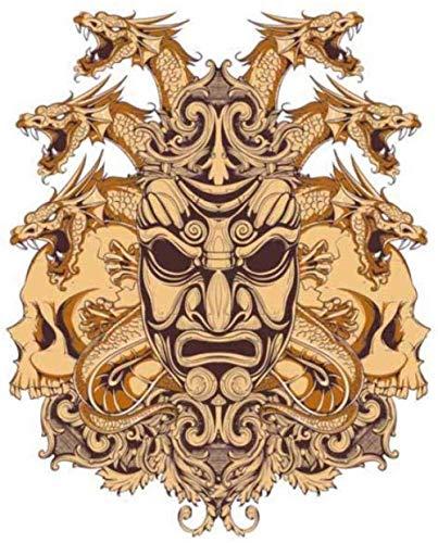 Daapplok Adesivo Per Auto Adesivo Da Parete 11,5 Cm X 14,2 Cm Samurai Dragon Skull Moto Auto Casco Autoadesivo Dell'Automobile Decalcomania Del Pvc2 Pezzi/Set
