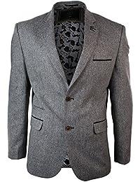 Giacca Elegante da Uomo Blazer Vintage in Tweed Marrone con Finiture  Cioccolato f57ba191a0a