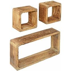 Juego de 3 cubos para la Sala, estilo antiguo, Estantería para pared Fijación para la pared, en madera maciza, en marrón claro 'Shabby'
