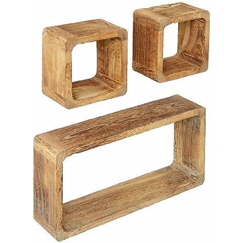 Juego de 3 cubos para la Sala, estilo antiguo, Estantería para pared Fijación para la pared, en madera maciza, en marrón claro