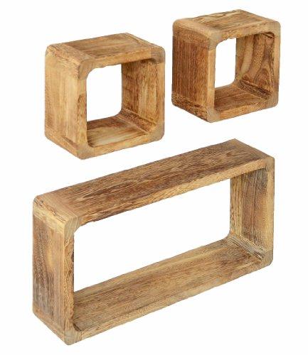 Ts-ideen - set 3 mensole in legno massiccio, stile retrò naturale