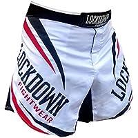 Lockdown Pantalones cortos de MMA, lucha, Muay Thai, UFC, etc., tallas: S a XXL, color blanco y rojo