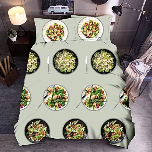LIYIMING Dreiteiliges 3D-Set Mit Steppdeckenbezug, Bedruckt Mit Einem Personalisierten Hähnchenbrötchenmuster Für Gemüse-Gourmet-Burger (200 x 220 cm,B)