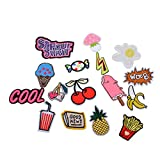 #5: Hexawata Mixed Multicolor Cartoon Letters Fruits Drink Embroidered Sew Iron On Applique Patches 16Pcs