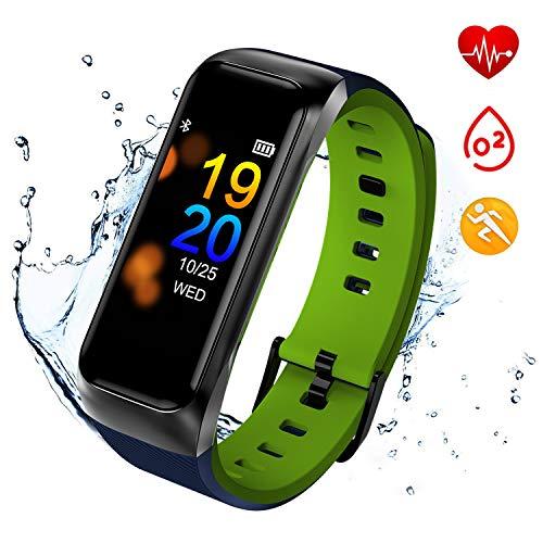 ISWIM Fitness Tracker, Orologio Fitness Pressione Sanguigna Cardiofrequenzimetro, Waterproof IP67 Smart Watch Activity Tracker Pedometro per iPhone Android iOS (Verde)