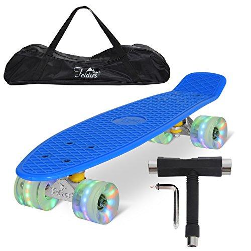 """Feldus 22\"""" Retro Skateboard Komplett Fertig Montiert mit Tasche und T-Tool (Deck Blau/ LED transparent Räder)"""