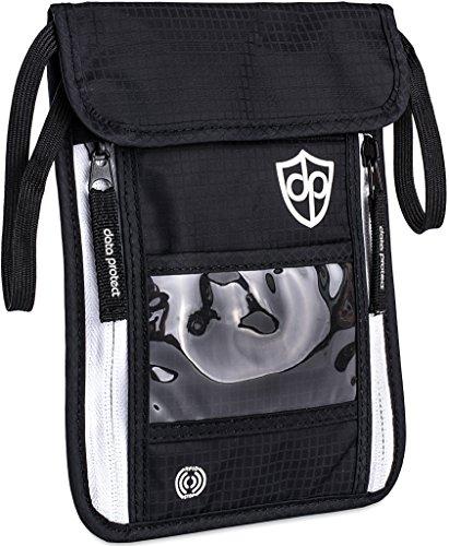 Brustbeutel mit RFID-Schutz für Damen Herren | Leichte Flache Bequeme Brusttasche | Reise-Geldbeutel zum Umhängen für Wertsachen, Reisepass von Data Protect - Hals Rfid-reise-geldbörse