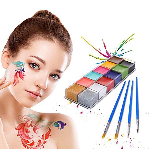 Pinturas Corporales y Cara, LuckyFine Body Paint, Maquillaje Halloween Carnaval Set, 12 Colores + 4 Cepillos