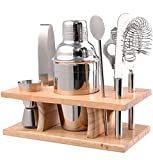 Set de 10 piezas para preparación de cócteles y bebidas, piezas de acero inoxidable con soporte de...