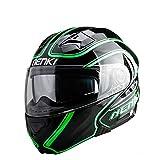 Motorrad Helm Flip up Helm Offenes Gesicht Herren Moto Helm Dirt Bike Helm Casque Moto Green XL