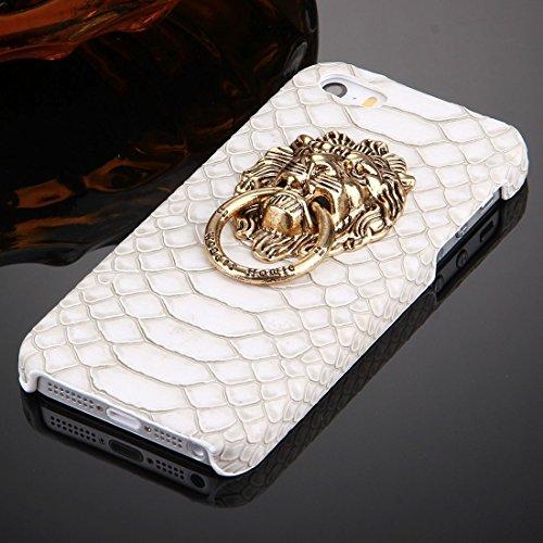 Wkae Case Cover Für iPhone SE &5s &5 Snakeskin Texture Paste Haut PC-Schutzhülle mit Löwe Kopfhalter ( Color : White ) White