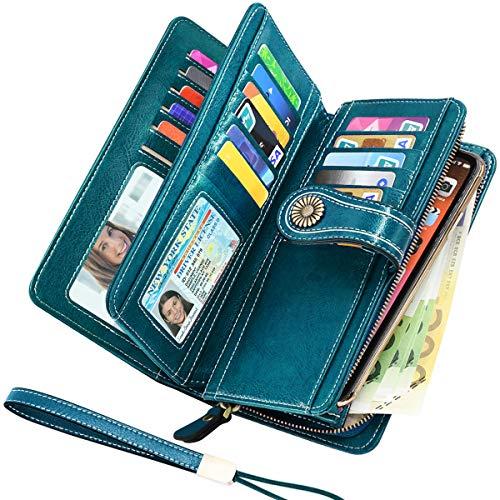 Faneam Geldbeutel Damen Leder Gross Geldbörse Damen Groß Viele Fächer mit Handyfach, RFID Frauen Portemonnaie mit 26 Kartenfächer und Reißverschluss Geldbörsen Lang Damen XXL (Pfauenblau)