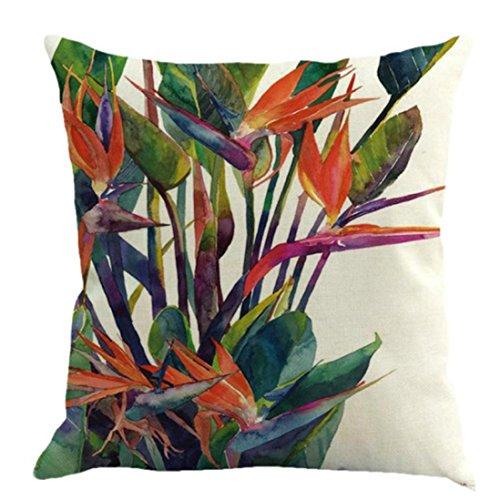 Fossrn Fundas Cojines 45x45, Tropical Floral Hojas Cuadrado Funda de Almohada Decoración del hogar...