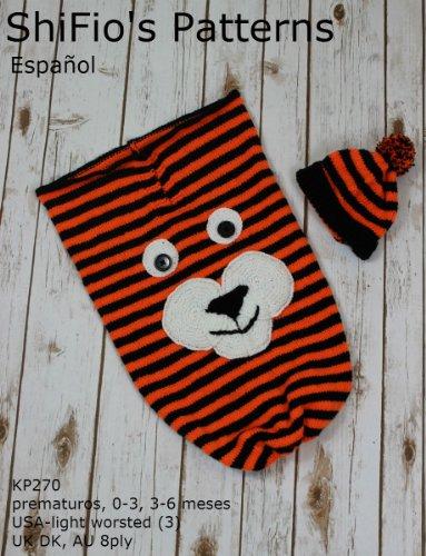 patrón para dos agujas - KP270- bolsa de dormir para bebé y sombrero, tigre por shifio patterns