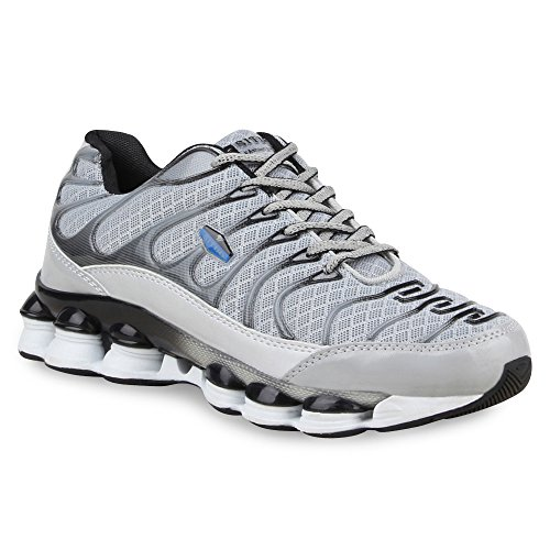 Damen Sneakers Runners Sportschuhe Laufschuhe Profilsohle Hellgrau Avelar