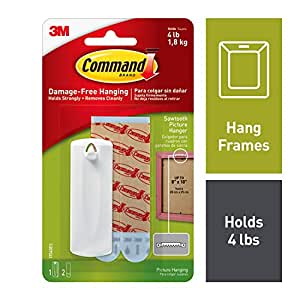 Command Saw tooth Plastic Picture Hanger, Holds 1.8 kg, No Drilling, Holds Strong, No Wall Damage (1 hanger, 2 strips)