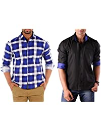 Solid Combo Of Two Ready Made Shirts For Men By Mark Pollo London(CheckBlue,Black)