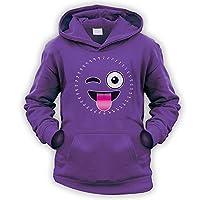 Dot to Dot Tongue Emoji Kids Hoodie [Purple XL]