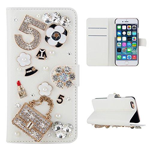 Meizu Pro 7 Hülle, PU-Leder Handytasche Brieftasche Shell Strass-Design Handyhülle Flip Stand Stoßfestes Telefon Folio Cover mit Magnetver schluss für Meizu Pro 7 (Handbag)