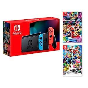 Nintendo Switch 32Gb Neon-Rot/Neon-Blau + Super Smash Bros: Ultimate + Mario Kart 8 Deluxe
