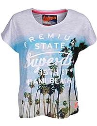 Superdry Oversize T-Shirt Women PREMIUM BEACH GROWN Ice Marl