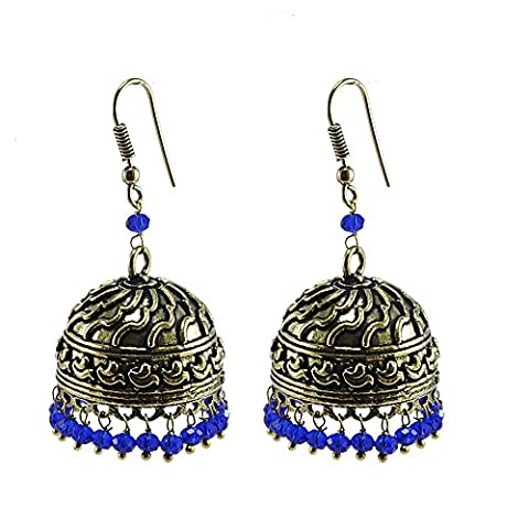 Bollywood Belly Dance Women Party Wear Jhumki Chandelier Earring With Smal Blue Crystals PG-101854