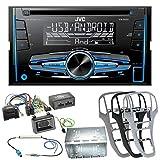 JVC KW-R520 2-Din Autoradio mit CD USB MP3 Aux Einbauset für Opel Astra J, Farbe der Radioblende:Platin-Silber