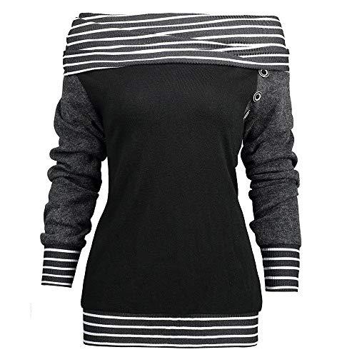 BaZhaHei Damen Langarm Mode Frauen Skew Neck Langarm gestreift Patchwork Button Sweatshirt Top Übergröße Mock Neck Top Asymmetrisch Bluse
