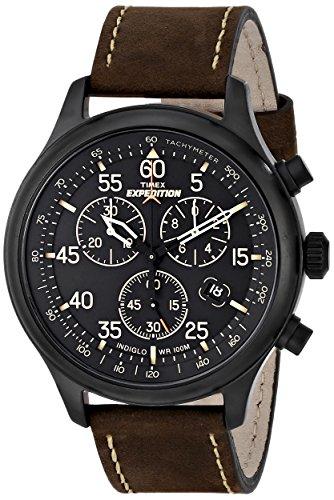 Timex T49905SU Orologio Cronografo da Polso da Uomo, Pelle, Marrone