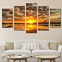 OLAJSDD Modern home wall art decoration frameless Modular image 5 pieces sunrise morning lake landscape HD print painting on canvas