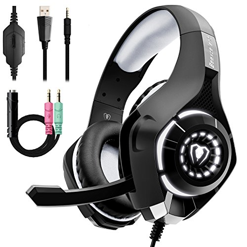 Beexcellent Stereo Gaming Headset für PS4 Xbox One PC mit Noise Cancelling Mikrofon Bass Surround Soft Speicher Ohrenschützer LED Lichter und Geflochten Kabeler Kopfhörer