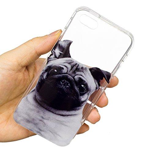 Felfy Schutzhülle iPhone 5S Silikon,iPhone 5S Hülle Transparent Muster,Handyhülle iPhone SE Silikon Ultradünnen Weich TPU Silikon Kreatives Marmor Zitrone Wassermelone Pizza Muster Crystal Klar Schutz Mops Cas