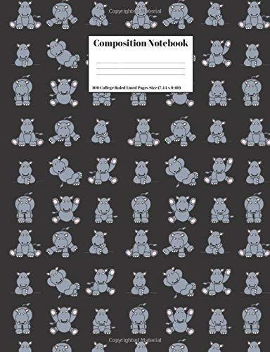 Composition Notebook: Cute Jungle Animal Hippopotamus Hippo Design Cover 100 College Ruled Lined Pages Size (7.44 x 9.69) (Rhino-tablet-fall)