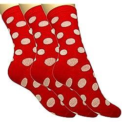 Loonysocks, 3 pares de calcetines de algodón de colores para mujer/Calcetines combinados en multicolor de señora/niña (35-38 EU) (Rojo lunares, 35-38)