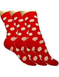Loonysocks, 3 Pair of Cotton Rich Women/ Ladies & Girls Red & White Polka Dots Socks