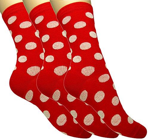 3 pares de calcetines de algodón de colores para mujer/Calcetines combinados en multicolor de señora/niña (35-38 EU) (Rojo lunares, 35-38)