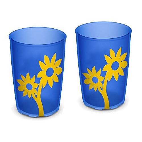 Ornamin Becher mit Anti-Rutsch Blume 220 ml blau/gelb 2er-Set (Modell 820) / Trinkbecher, Pflege-Becher, Kinderbecher