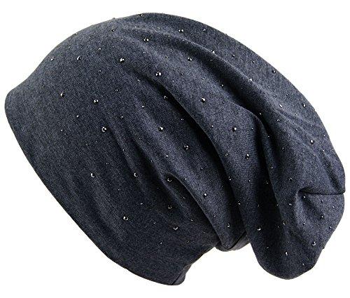 brandshopping99 Beanie Jersey Slouch Long Unisex Mütze warm und weich mit Steinchen Cap Mützen Touca Gorro Strickmützen Damen Herren New Brand(Anthrazit) (Slouch Frauen Handtaschen Für)