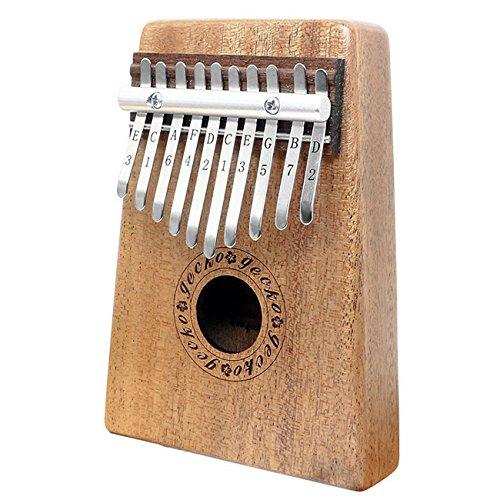 Gecko Mahagoni Ton Holz Kalimba, Premium Qualität Professionelle Finger Daumen Klavier Instrument Geschenk (10Schlüssel, Mahagoni)