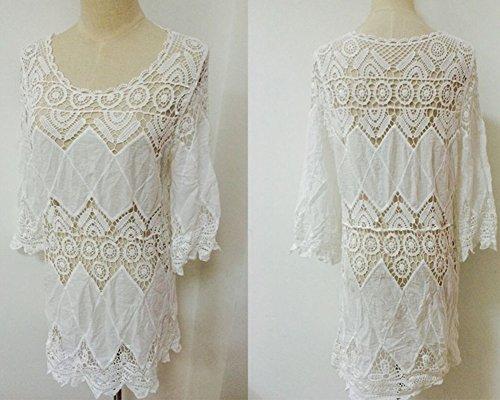 Damen weiß blume Strandponcho Sommer Überwurf Kaftan Strandkleid Bikini Cover Up Weiß