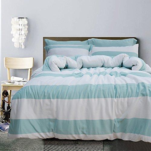 Merryfeel Bettwäsche-Set 2-3 teilige, 100% Baumwolle Garn gefärbt Bettbezug & Kissenbezüge – Minze 155×220