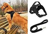 Liying gepolstertes, verstellbares Hundegeschirr mit schwarzer Leine, 120 cm, reflektierendes Sicherheitsgeschirr, robuster Brust- / Rückengurt mit Griffen für kleine, mittelgroße und große Hunde