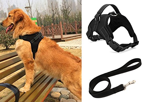 liying-padded-adjustable-non-pull-dog-harness-black-leash-lead-120cm-safety-reflective-heavy-duty-ch