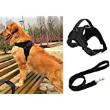 Liying Padded Adjustable Non Pull Dog Harness   Black Leash Lead 120cm Safety Reflective Heavy Duty Chest/ Back Collar With Handles for Small Medium