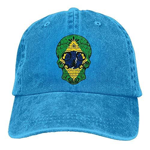 deyhfef Mens Womens Baseball Cap Brasilien Flagge Sugar Skull Sommer Jean Strapback Cap Frauen