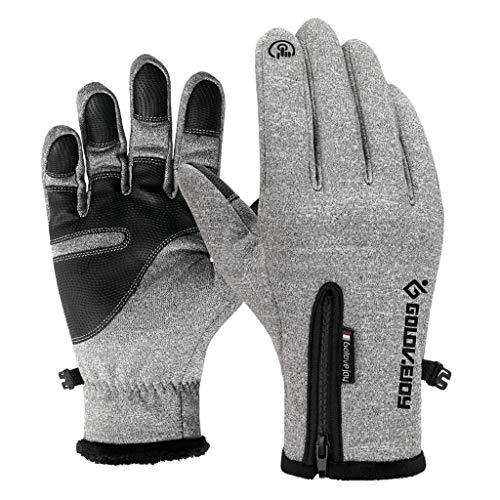 Choumo Outdoor Wasserdichte Handschuhe Winter Touchscreen Männer Und Frauen Winddicht Warm Reitsport Bergsteigen Ski Handschuhe (Farbe : Gray, größe : XXL)