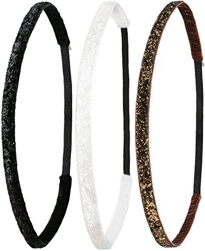 Ivybands ® | Das Anti-Rutsch Haarband | 3-er Pack | Black White Braun Glitzer Pack| Schwarz Glitzer Superthin, Weiss Braun | One Size | IVY261 IVY508 IVY133 (Schwarz Stirnbänder Pack)