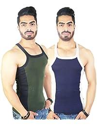 Zimfit Men's Gym Vest 112(Green_Navy)