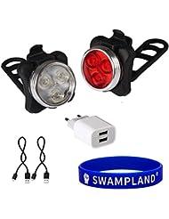 Wiederaufladbare LED Fahrradlampe, SwampLand LED Frontlicht und Rücklicht Für Radfahren,2 USB-Kabel &1 Ladegerät, 4 Licht-Modi,Wasserdicht IPX4